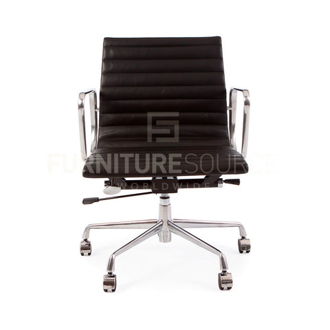 Ribbed Stitched Low Back Office Chair Eames Style - Black Leather Castor Wheels , Chair - FSWorldwide, FSWorldwide  - 1