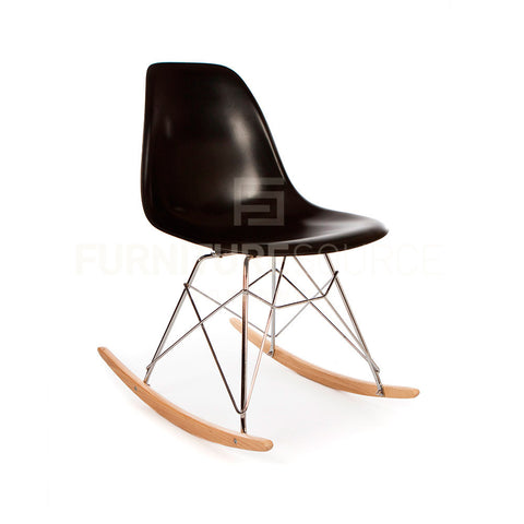 Mid-Century Modern Premium Quality Eiffel Rocking Side Chair Eames Style - Black , Rocking Chair - FSWorldwide, FSWorldwide  - 1