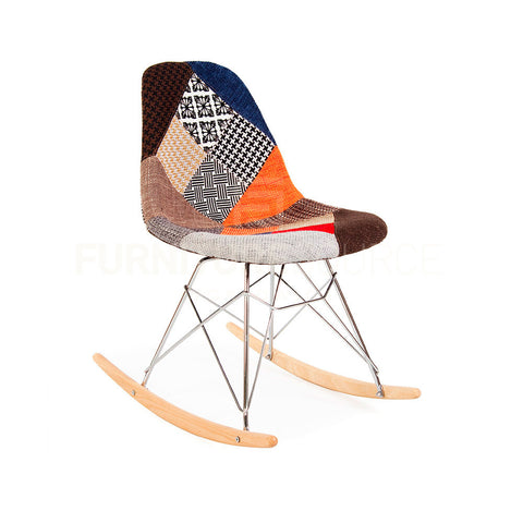 Mid Century Modern Eiffel Rocking Retro Side Chair Eames Style - Special Patchwork , Rocking Chair - FSWorldwide, FSWorldwide