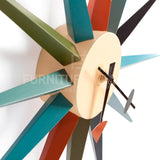 Sunburst Wall Timepiece In Style Of George Nelson - Multi Colored Original Finish , Chair - FSWorldwide, FSWorldwide  - 2
