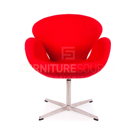 Arne Jacobsen Style Swan Chair - Cashmere Red Fabric , Chair - FSWorldwide, FSWorldwide  - 1