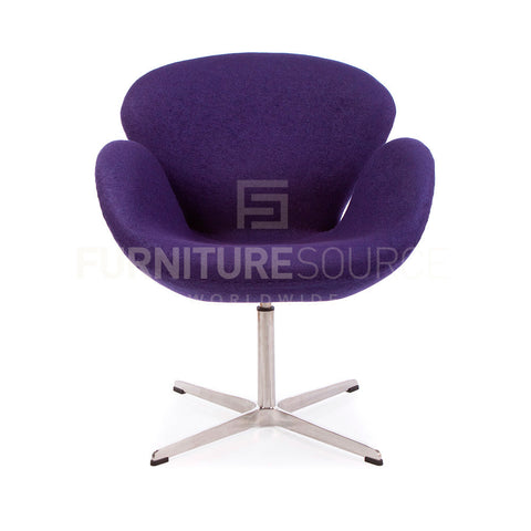 Arne Jacobsen Style Swan Chair - Soft Wool Purple Fabric , Chair - FSWorldwide, FSWorldwide  - 1