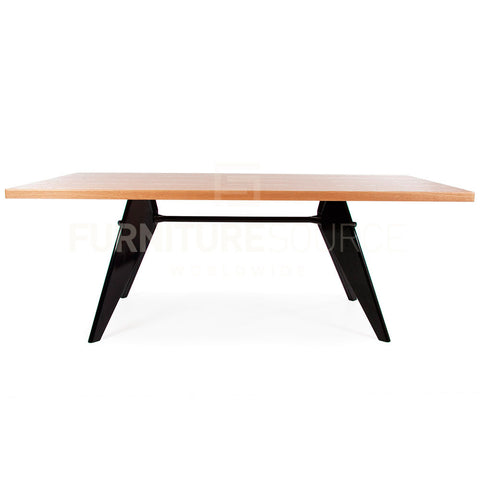 Large Size Rectangular Gueridon Natural Wooden Dining Table Jean Prouve Style - Light Ash Finish , Table - FSWorldwide, FSWorldwide  - 1
