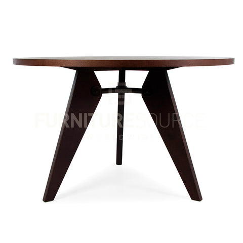 Circular Gueridon Natural Wooden Dining Table Jean Prouve Style - Dark Ash Finish , Table - FSWorldwide, FSWorldwide  - 1
