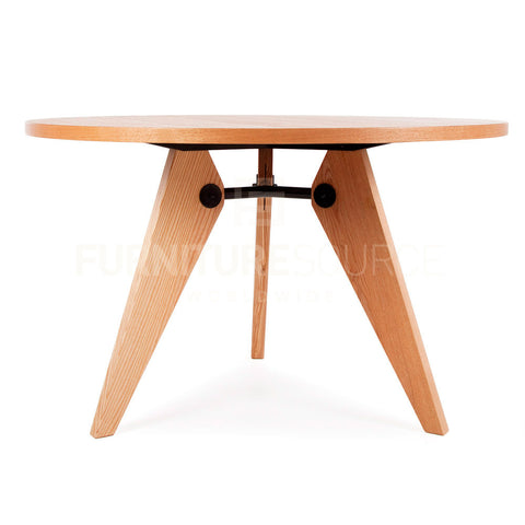 Circular Gueridon Natural Wooden Dining Table Jean Prouve Style - Light Ash Finish , Table - FSWorldwide, FSWorldwide  - 1