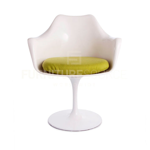 Eero Saarinen Tulip Style Arm Dining Lounge Chair - White Chair Green Cushion , Chair - FSWorldwide, FSWorldwide  - 1