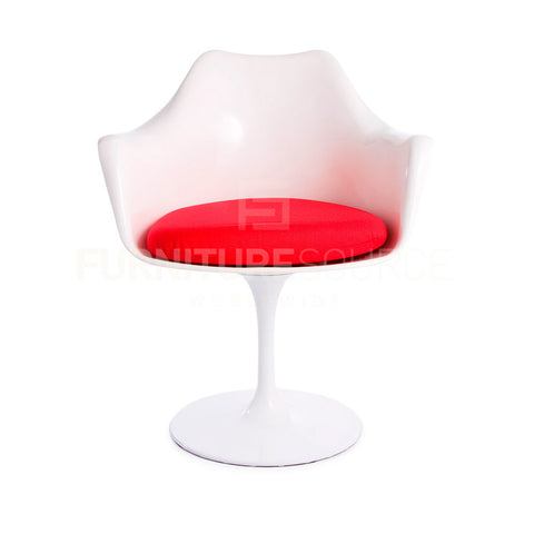 Eero Saarinen Tulip Style Arm Dining Lounge Chair - White Chair Red Cushion , Chair - FSWorldwide, FSWorldwide  - 1