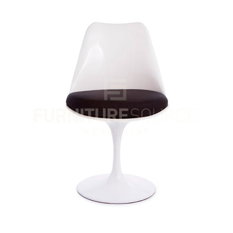 Eero Saarinen Tulip Style Side Dining Lounge Chair - White Chair Black Cushion , Chair - FSWorldwide, FSWorldwide  - 1