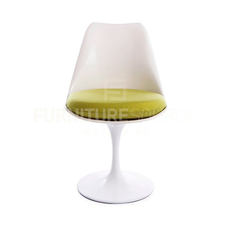 Eero Saarinen Tulip Style Side Dining Lounge Chair - White Chair Green Cushion , Chair - FSWorldwide, FSWorldwide  - 1