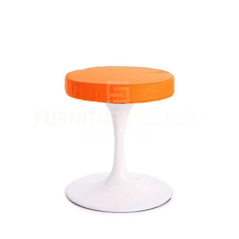 Eero Saarinen Style Dining Or Lounge Tulip Stool - Orange Fabric , Chair - FSWorldwide, FSWorldwide  - 1