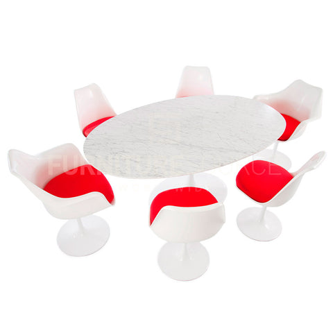 "Saarinen Iconic Tulip Style Set of 4 Side & 2 Arm Chairs Red Cushion & 78"" White Oval Table ,  - FSWorldwide, FSWorldwide  - 1"