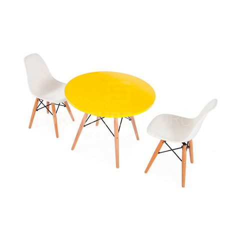 ... Kids Dining Set   Eames Style Round Yellow Top Eiffel Base Table U0026 2  DSW Side ...