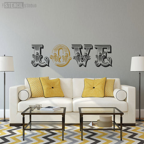 LOVE Circus Letter stencils from The Stencil Studio - Stencil Size XL
