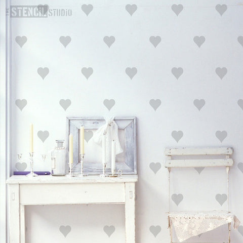 Hearts Content Wall Stencil From The Stencil Studio - Stencil Size XL