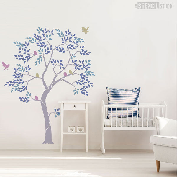 Nursery Tree stencil pack from The Stencil Studio - leaves and bird stencils are included