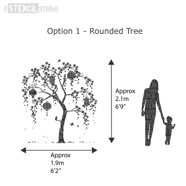 Approximate Size Of The Rounded Tree Using Sheet Numbers 1 2 And 3. Cherry  Blossom
