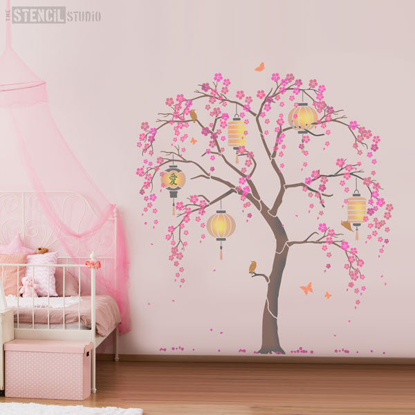 Pink room scheme, oriental cherry blossom tree stencil pack from The Stencil Studio