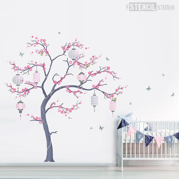 Nursery Tree Stencil pack - Oriental Sakura Cherry Blossom stencil from The Stencil Studio