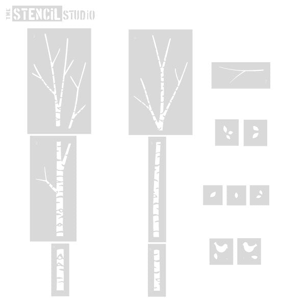 Birch Tree Stencil Set - stencils included with this pack