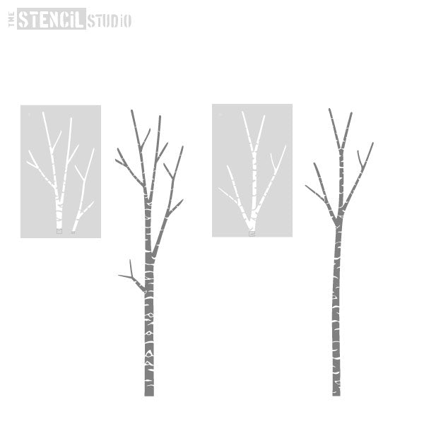 now stencil the main branches of the Birch Tree
