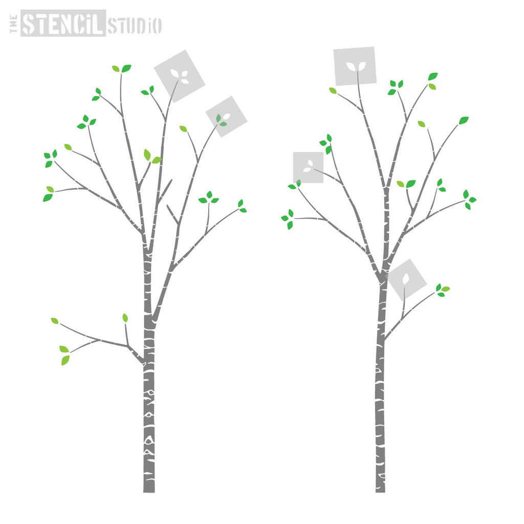 Add leaves to your Birch tree stencil, add a few or a lot, it's up to you. Choose colours to match your room scheme.