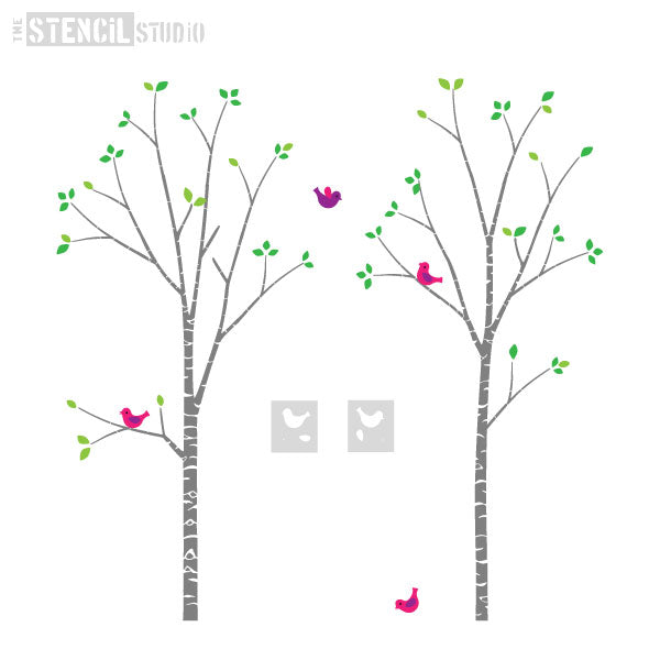 Place the birds anywhere you like - Birch Trees Stencil Pack from The Stencil Studio