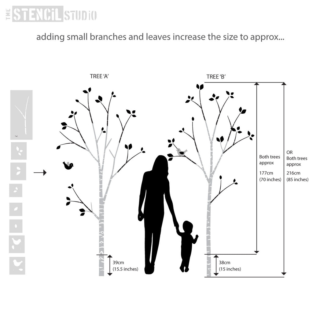 Finished Birch tree sizes are approximate as it really depends on how you use the trunk and small branch stencils