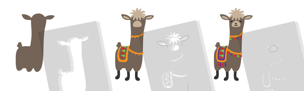 Levi Llama stencil - how to assemble using stencil layers