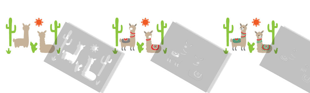 Llamas and Cactus Border stencil painting instructions