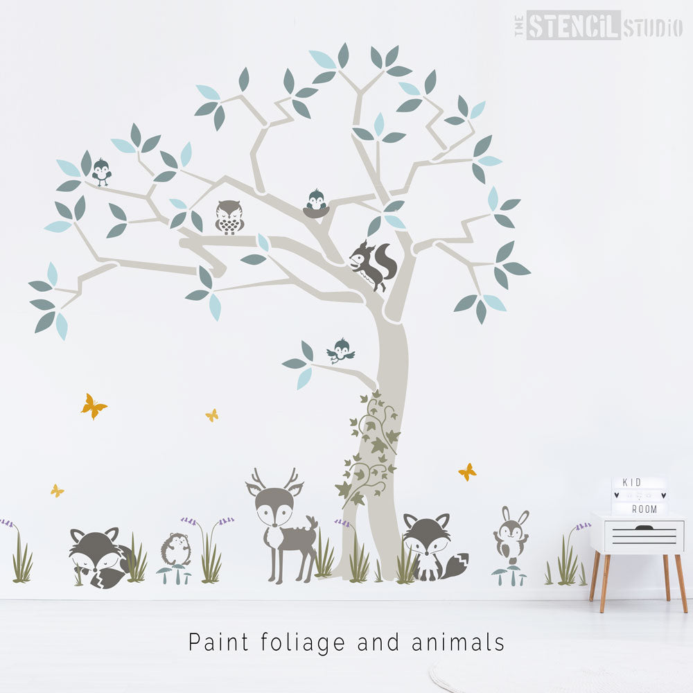 Adding woodland animals to the tree and surrounding areas