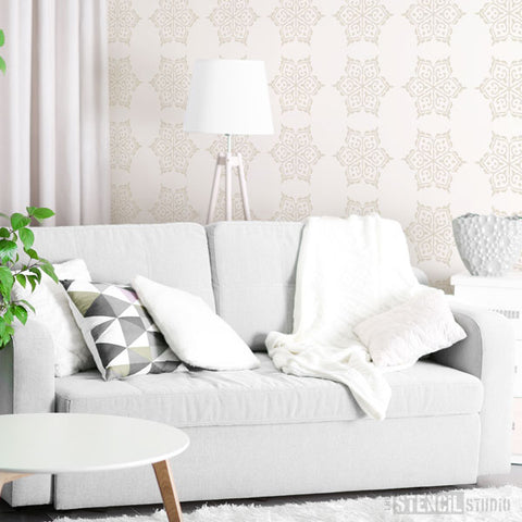 Indian Star Stencil design for decorating walls from The Stencil Studio