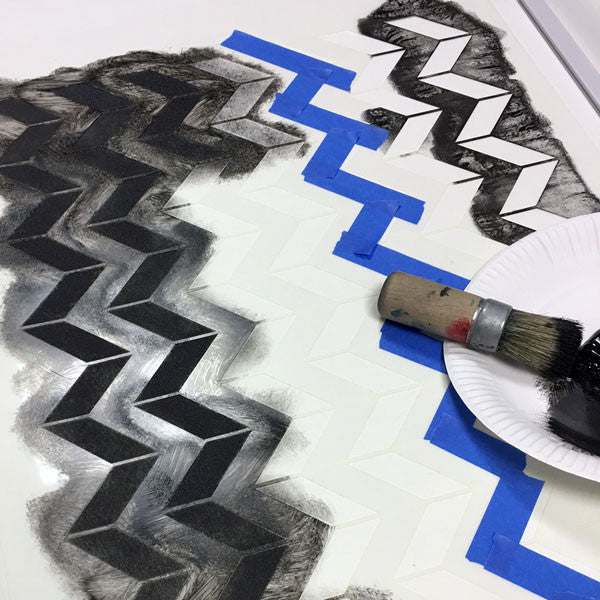 Stencilling a rollwe blind with Chevron stencil from The Stencil Studio