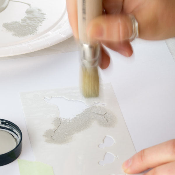 Use a 'woodpecker' stabbing motion to apply paint to the stencil - How to stencil tutorials from The Stencil Studio Ltd - Basics of stenciling