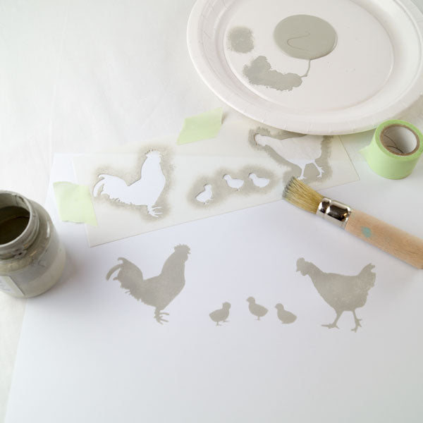 stencilled chickens - How to stencil tutorial - the basics of stenciling from The Stencil Studio Ltd