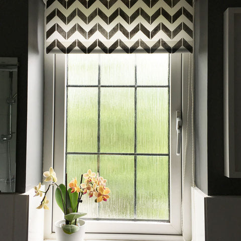 Stencilled roller blind with The Stencil Studio Chevron stencil