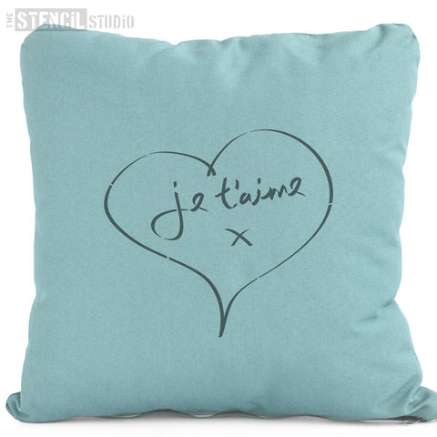 French Script I Love Heart Stencil - Je t'aime Stencil from The Stencil Studio - Stencil Size S