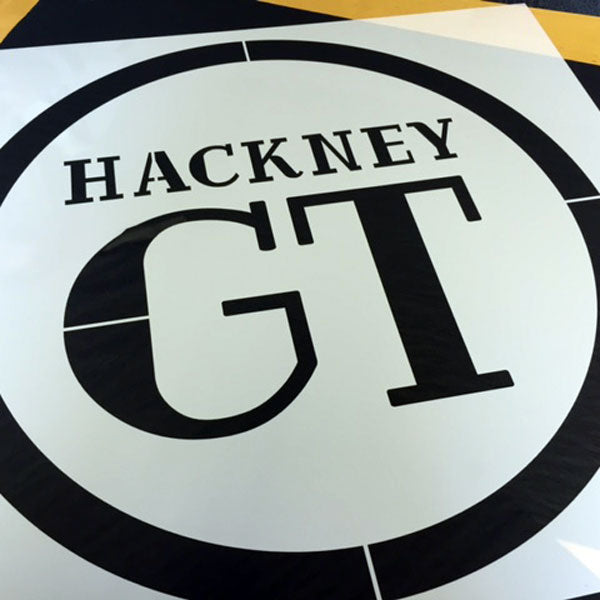 Hackney GT logo showing stencil bridges in place - a custom stencil from the stencil studio