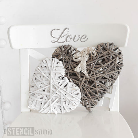 Love Text Furniture Stencil from The Stencil Studio - Stencil Size S