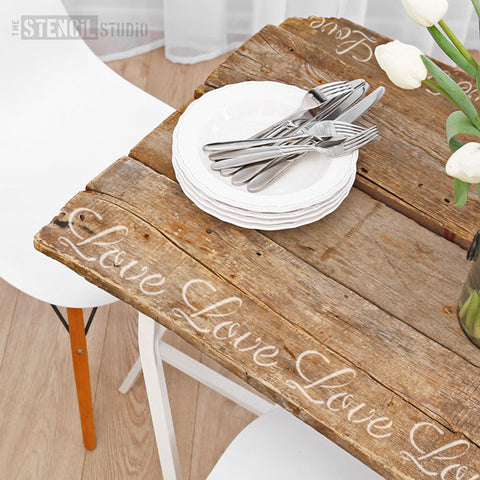 Love Text Furniture Stencil for your upcycling projects from The Stencil Studio - Stencil Size XS