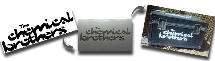 Chemical Brothers band logo stencils made for the band by The Stencil Studio Ltd buy personalised customised stencils uk online