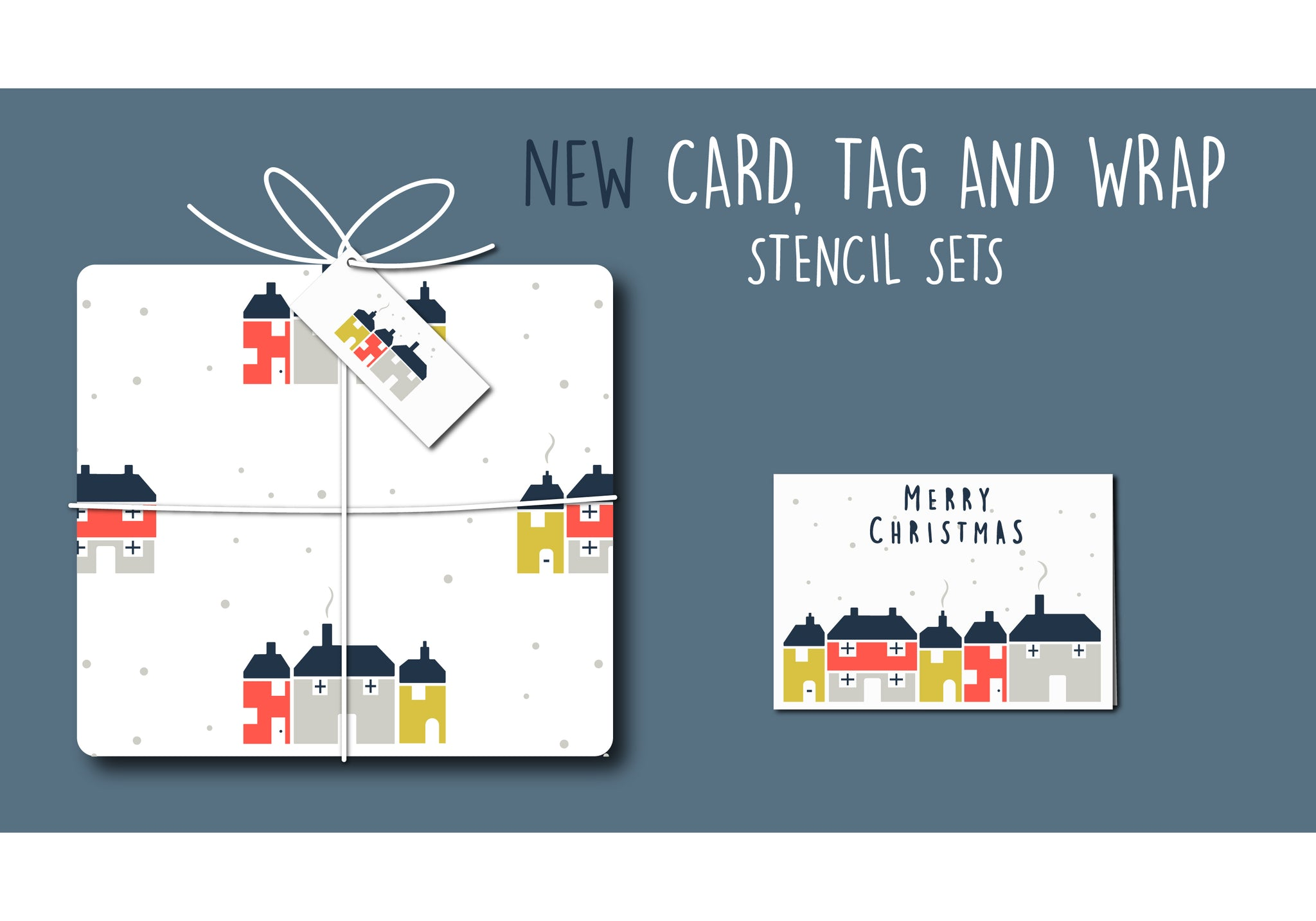 New card, tag and wrap stencil sets