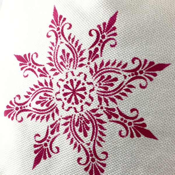 The finished stencilling. We used fabric paints, a stencil brush and The Stencil Studio Indian Star stencil - Size M