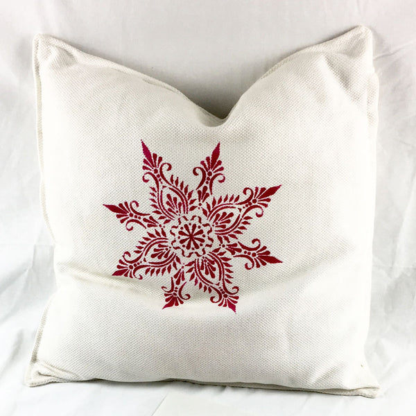 The dinished cushion cover with The Stencil Studio Indian Star stencil - Size M