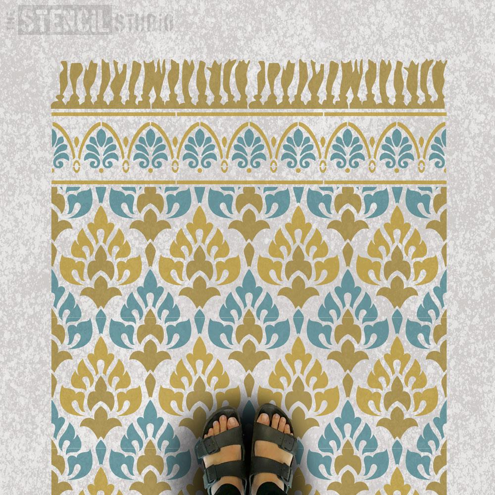 Acanthus Patio Rug Stencil from The Stencil Studio