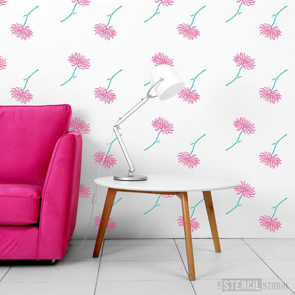 Quill Chrysanthemum Flower Stencil from The Stencil Studio  - Size XS