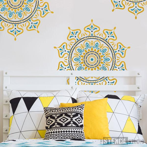Zara Mandala Indian Motif stencil from The Stencil Studio - Size XL