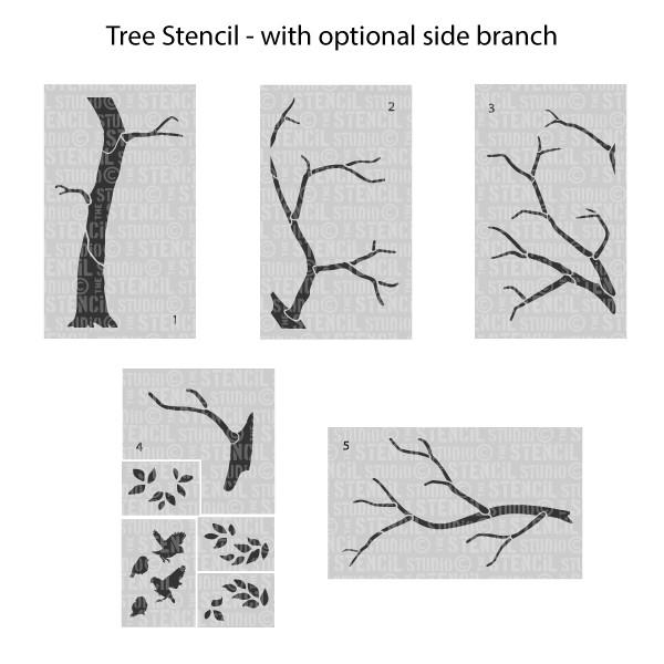Large Tree stencil from The Stencil Studio includes leaves and birds