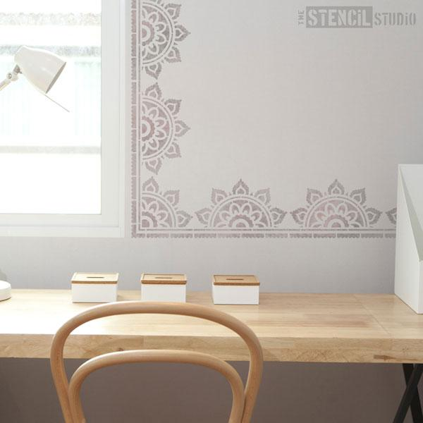 Sunray Mandala Border stencil - Size S/A4 from The Stencil Studio Ltd