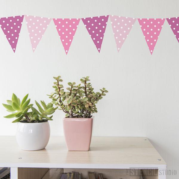 Polkadot Bunting stencil from The Stencil Studio Ltd - Size XS
