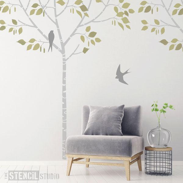 Birch tree and swallows stencil from The Stencil Studio Ltd - over 2m high!